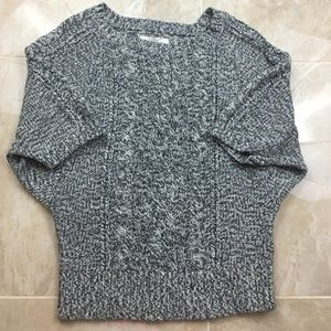 🍁 Loft Cable Knit Batwing Short Sleeve Sweater